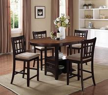 105278 5 pc Wildon home avonlea lavon chestnut and espresso finish wood oval top counter height dining table set with leaf