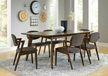 105351-52 7 pc malone retro modern dark walnut finish wood dining table set