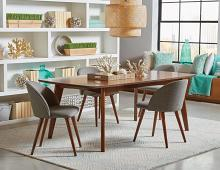 105351 5 pc Arrabury donner malone retro modern dark walnut finish wood dining table set