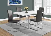 "DINING TABLE - 36""X 60"" / WHITE / CHROME METAL"