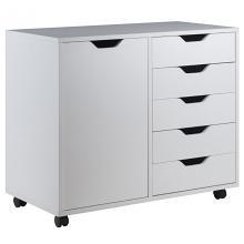 10630 Halifax 5-Drawer Mobile Side Cabinet, White