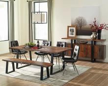 110181 6 pc Foundry select bezout jamestown gray black finish wood gunmetal base dining table set