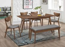 108080 6 pc Name retro modern natural walnut finish wood dining table set