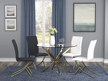 "108441 5 pc Mercer 41 axtell chanel brass metal finish 46"" round glass top dining table set"