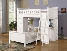 Acme 10970-78 Harriet bee knighton willoughby white finish wood loft bunk bed set desk drawers twin bed set