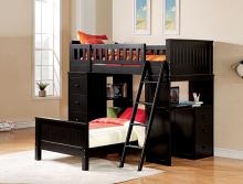 Acme 10980 Harriet bee knighton willoughby black finish wood loft bunk bed set desk drawers twin bed set