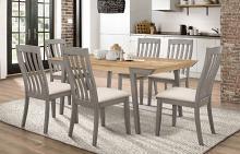 109811 7 pc Nogales coastal grey and acacia finish wood natural textured look dining table set