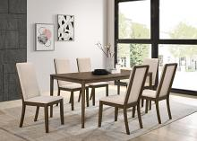 109841 7 pc Orren ellis annapolis wethersfield medium walnut finish wood dining table set