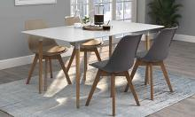 110011 5 pc Breckenridge natural and white finish wood mid-century modern dining table set