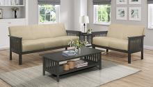 Homelegance 1104BR-2PC 2pc Lewiston mid century modern light brown textured fabric sofa and love seat set