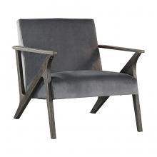 Homelegance 1111GY-1 Coriana mid century modern gray velvet fabric accent chair