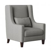 Homelegance 1114GY-1 Keller high back style light grey fabric accent chair nail head trim