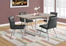 "DINING TABLE - 36""X 60"" / DARK TAUPE / CHROME METAL"