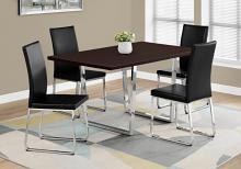 "DINING TABLE - 36""X 60"" / ESPRESSO / CHROME METAL"