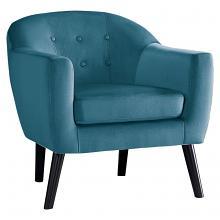 Homelegance 1127BU-1 Quill mid century modern blue velvet fabric accent chair
