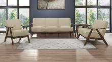 Homelegance 1138BR-3PC 3 pc Damala mid century modern light brown linen like fabric sofa, love seat and chair set
