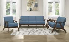 Homelegance 1138BU-3PC 3 pc Damala mid century modern blue linen like fabric sofa, love seat and chair set