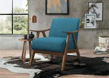 HE-1138BU-1 Damala blue fabric walnut finish wood arm retro modern accent arm chair