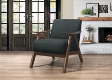 HE-1138DG-1 Damala dark gray fabric walnut finish wood arm retro modern accent arm chair