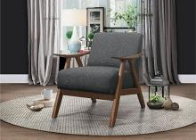 HE-1138GY-1 Damala gray fabric walnut finish wood arm retro modern accent arm chair