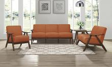 Homelegance 1138RN-3PC 3 pc Damala mid century modern orange linen like fabric sofa, love seat and chair set