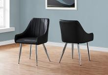 """DINING CHAIR - 2PCS / 33""""H / BLACK LEATHER-LOOK / CHROME"""