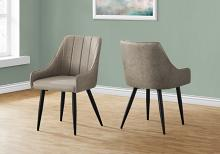 """DINING CHAIR - 2PCS / 33""""H / TAUPE FABRIC / BLACK METAL"""