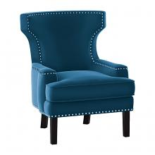 Homelegance 1190BU-1 Lapis wing back style blue velvet fabric accent chair nail head trim