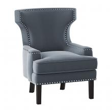Homelegance 1190GY-1 Lapis wing back style gray velvet fabric accent chair nail head trim