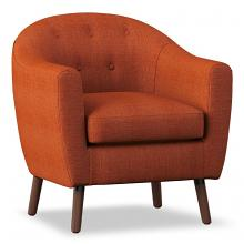 Homelegance 1192-RN Lucille mid century modern orange linen fabric accent chair