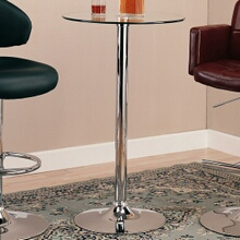 Chrome base and leg bar table with clear glass circular top