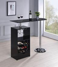 120451 Home bar unit modern style black finish bar unit black glass top