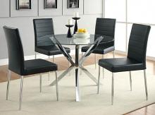"120760 5 pc Vance chrome metal finish 42"" round glass top dining table set"
