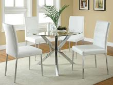 "120760A 5 pc Vance chrome metal finish 42"" round glass top dining table set"