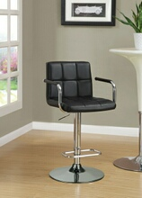 121095 Retro style chrome finish metal and black tufted vinyl upholstered adjustable barstool with foot rest