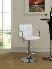 Retro style chrome finish metal and white tufted vinyl upholstered adjustable barstool with foot rest