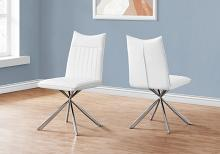"""DINING CHAIR - 2PCS / 36""""H / WHITE LEATHER-LOOK / CHROME"""