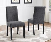 1213DGY-S Set of 2 Wallace dark gray finish wood and fabric dining chairs
