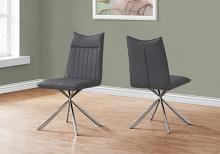 """DINING CHAIR - 2PCS / 36""""H / GREY LEATHER-LOOK / CHROME"""