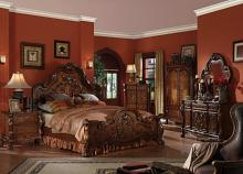 Acme 12140Q 5 pc dresden cherry oak finish wood queen bedroom set decorative carvings