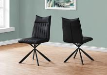 """DINING CHAIR - 2PCS / 36""""H / BLACK LEATHER-LOOK / BLACK"""