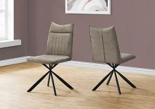 """DINING CHAIR - 2PCS / 36""""H / TAUPE FABRIC / BLACK METAL"""