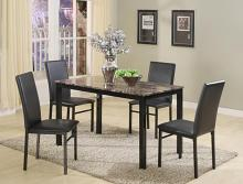 1217SET 5 pc wila arlo interiors orlo dark faux marble finish wood dining table set