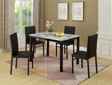 1217SET-WH 5 pc wila arlo interiors orlo white faux marble finish wood dining table set