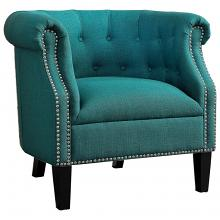 Homelegance 1220F3S Karlock tufted back teal linen fabric accent chair nail head trim