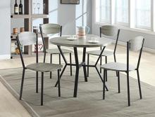 1230SET-GY 5 pc wila arlo interiors blake grey finish wood round dining table set