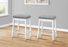"""BARSTOOL - 2PCS / 24""""H / GREY LEATHER-LOOK / WHITE"""