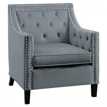 Homelegance 1297GY-1NN Grazioso tufted back gray velvet fabric accent chair nail head trim