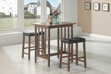 130004 3 pc Wildon home hood canal nut brown finish wood counter height dining table set