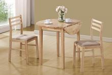 130006 3 pc Nathan natural finish wood drop leaf breakfast table set